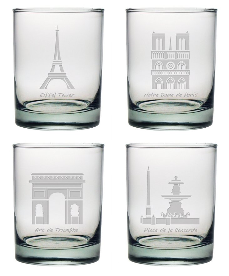 S/4 Paris Landmarks Rocks Glasses
