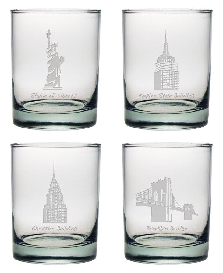 S/4 NYC Landmarks Rocks Glasses