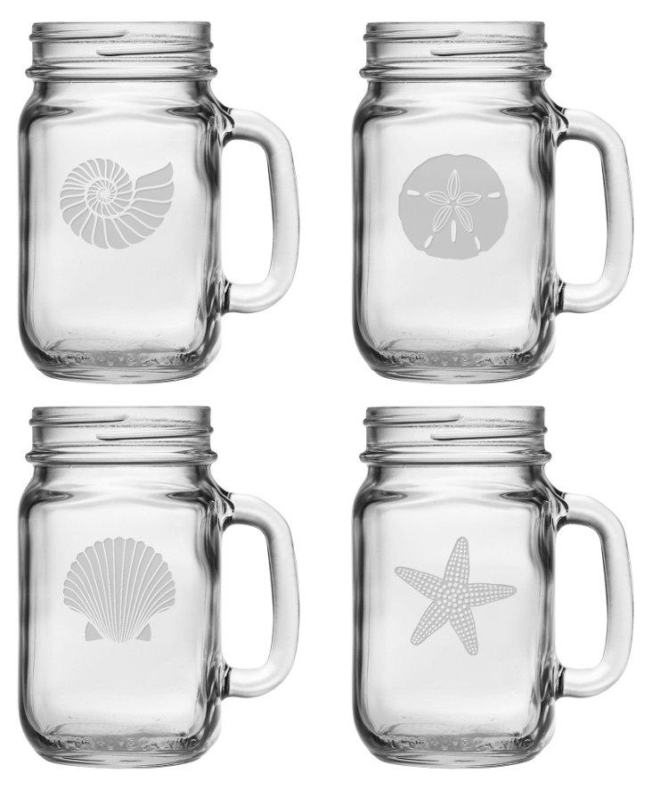 S/4 Assorted Seashore Drinking Jars