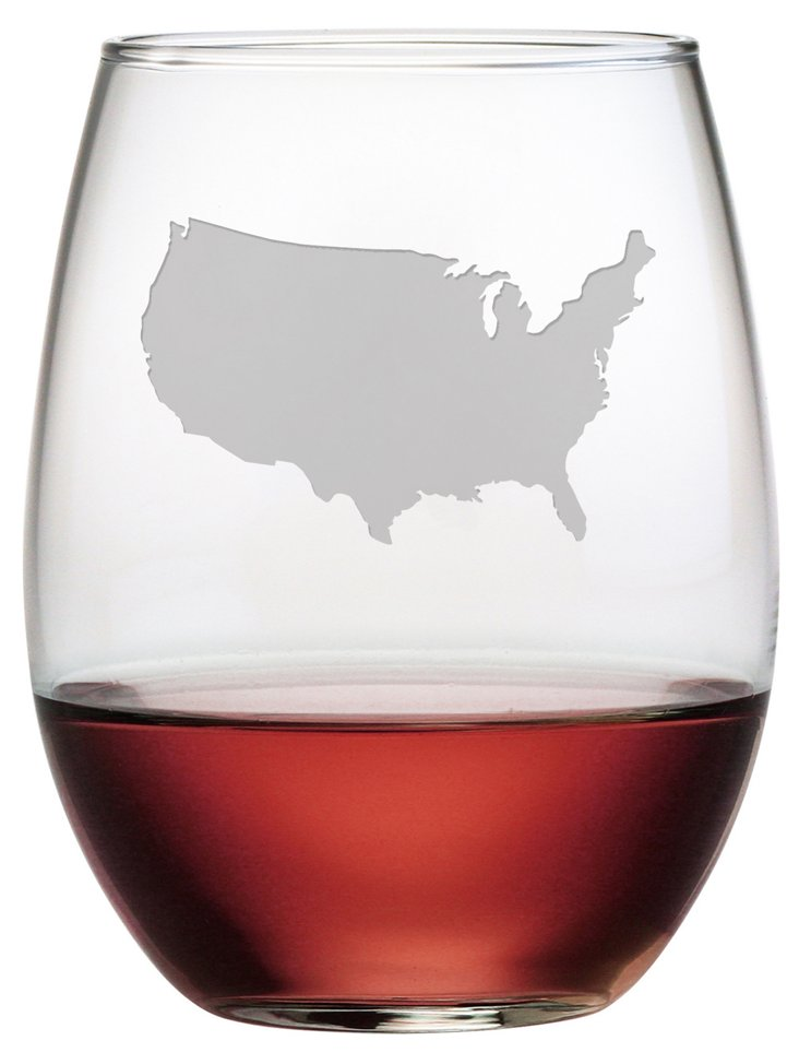 S/4 USA Stemless Wineglasses