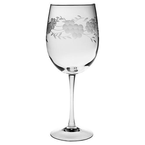 S/4 Adair Hand-Cut Wineglasses, 19 Oz