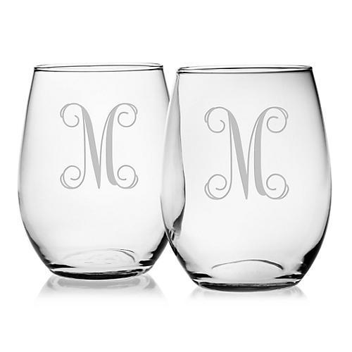 S/4 Vine Monogram Stemless Wineglasses, Clear