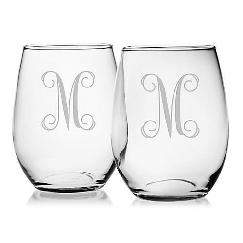 S/4 Vine Monogram Stemless Wineglasses, Clear