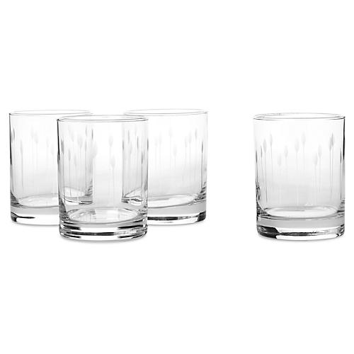 S/4 Horizon Hand-Cut Rocks Glasses, 14 Oz