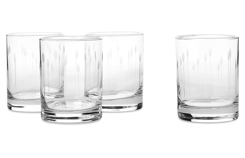 S/4 Horizon Hand-Cut Rocks Glasses, 14 Oz