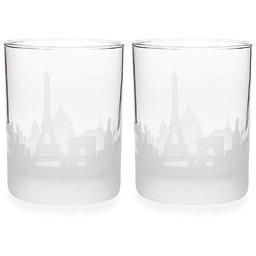 S/2 Paris Skyline DOF Glasses, Clear