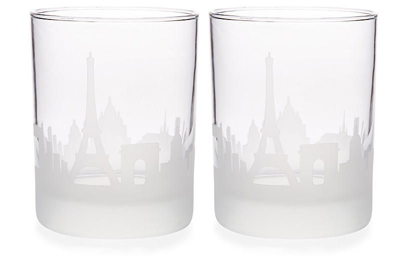 S/2 Paris Skyline DOF Glasses, Clear