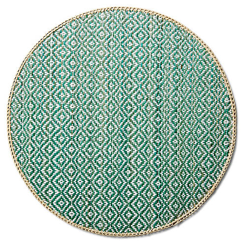 S/4 Bedell Round Place Mats, Turquoise/Natural