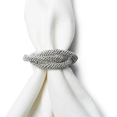 S/4 Triple Loop Napkin Rings, Matte Silver