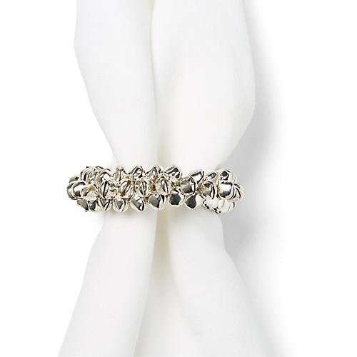 S/4 Christmas Bell Napkin Rings, Nickel