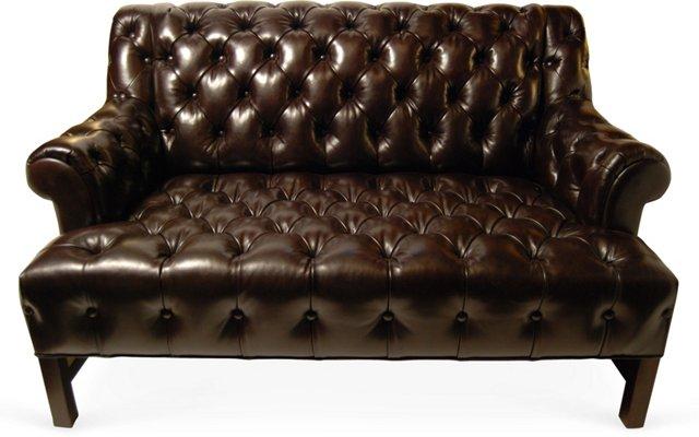 Custom Tufted Leather Settee