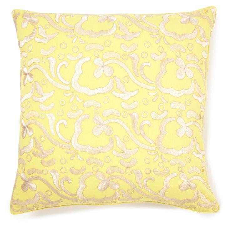 Freesia 20x20 Embroidered Pillow, Yellow