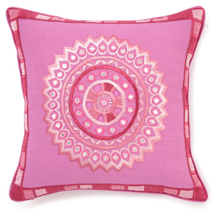 Stephan 12x12 Embroidered Pillow, Pink