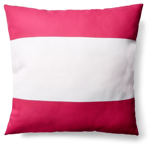 Stripe 20x20 Outdoor Pillow, Pink/White