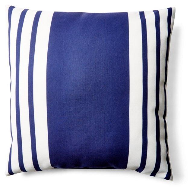 Fun Stripe 20x20 Outdoor Pillow, Navy