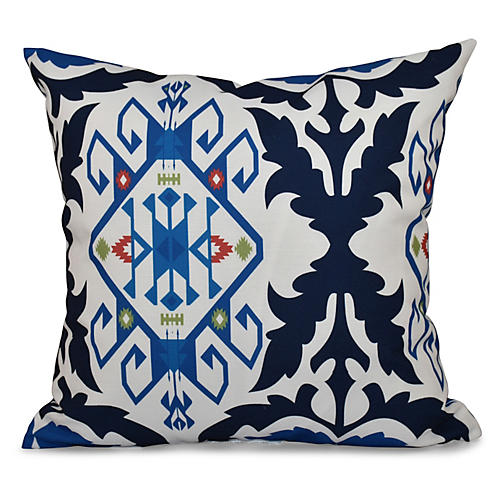 Bombay Medallion Outdoor Pillow, Navy