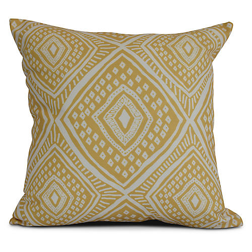 Diamond Eye Outdoor Pillow, Yellow