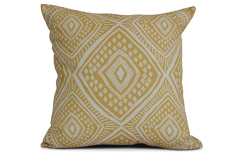 Diamond Eye Outdoor Pillow, Yellow