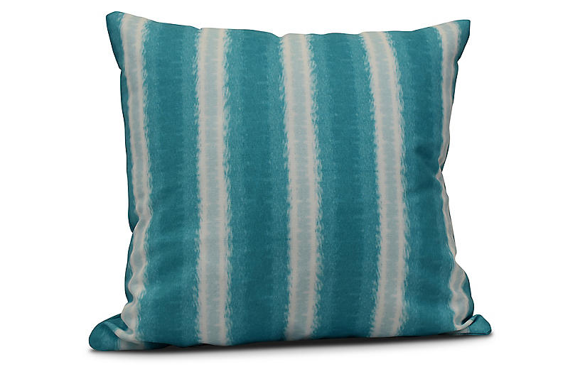 Sea Lines Outdoor Pillow, Teal