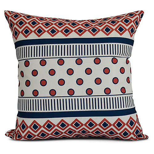 Geometric Stripe Outdoor Pillow, Coral