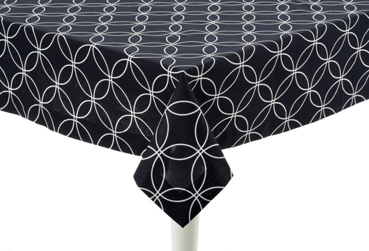"""Square Navy Tablecloth, 60"""""""