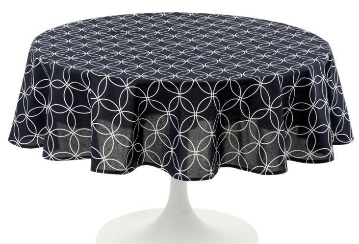 """Round Navy Tablecloth, 70"""""""
