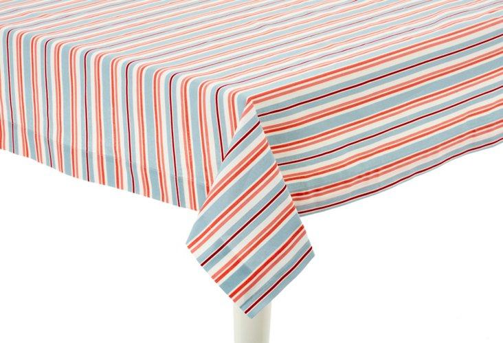 "Tablecloth, 70"" x 90"" Stripe Ocean"