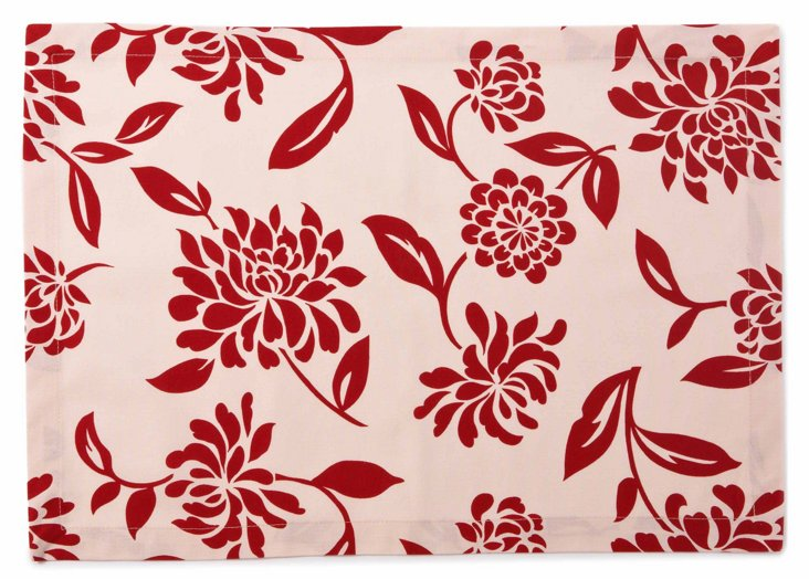 S/4 Place Mats, Scarlet