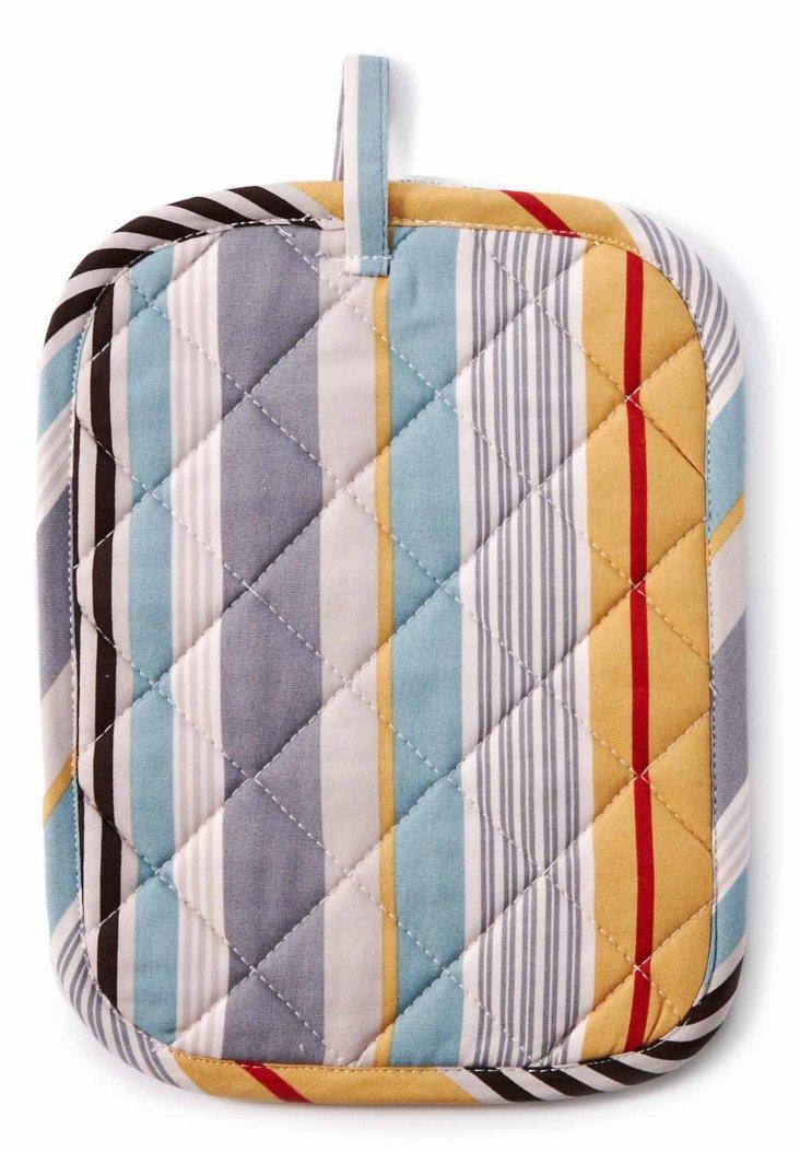 S/2 Bold Stripe Potholders, Licorice