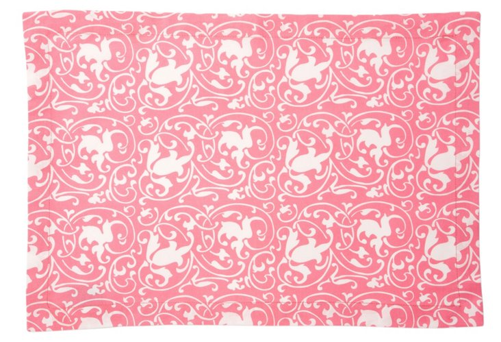 S/4 Scrolling Place Mats, Pink