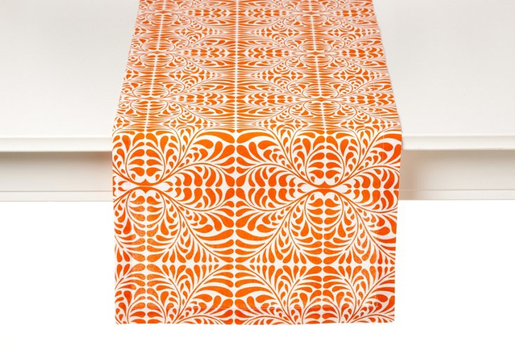 Fern Table Runner, Orange