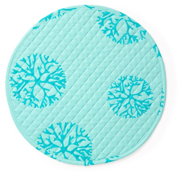 S/4 Coral Quilted Place Mats, Turquoise
