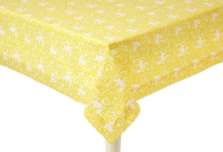 Scrolling Lemon Tablecloth
