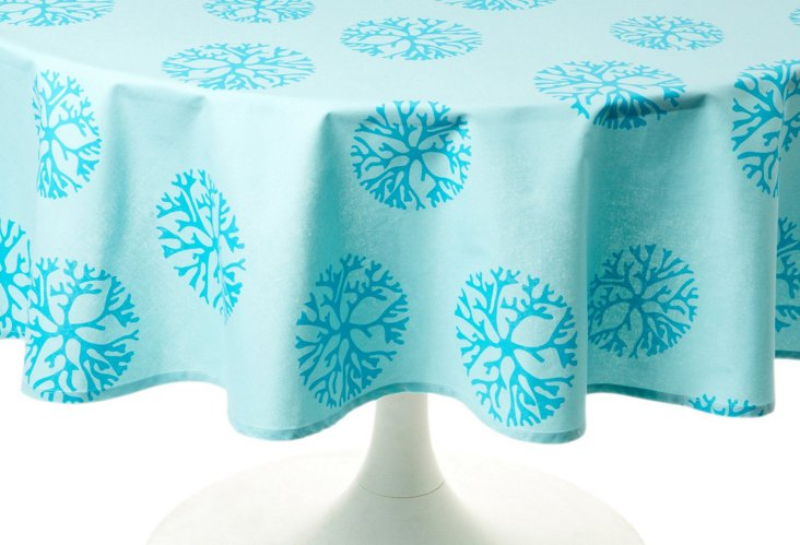 Coral Turquoise 70 x 108 Tablecloth