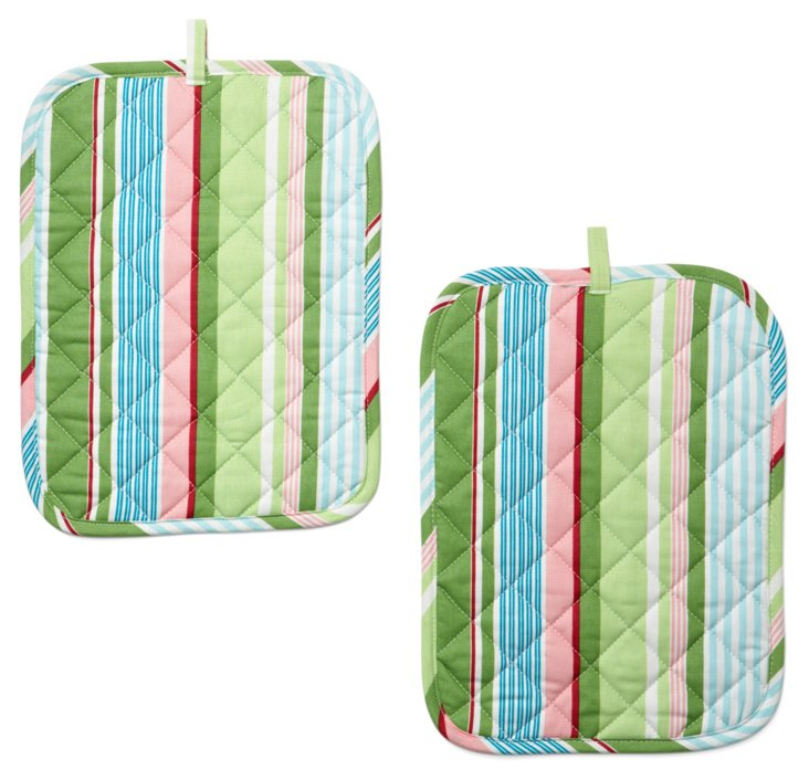 S/2 Bold Stripe Casserole Holders, Grass