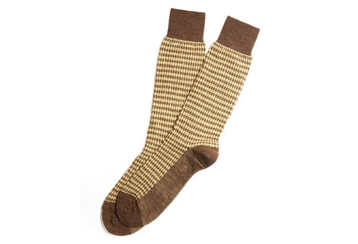 Men's Houndstooth Socks, Taupe/Yellow