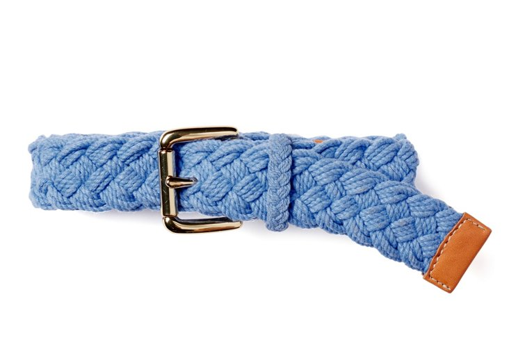 Woven Cotton Rope Belt, Blue