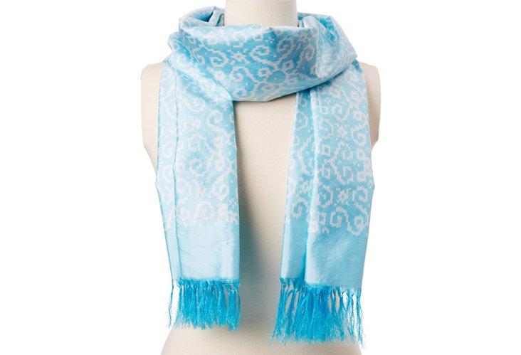 Heart Square Ikat Silk Scarf, Blue/White