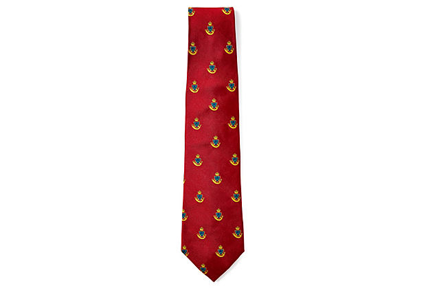 SILK JACQUARD TIE, RED/GOLD