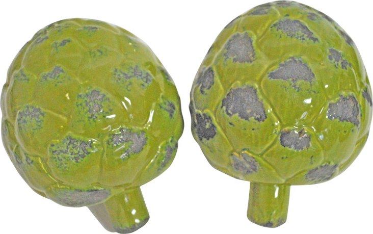 Ceramic Artichokes, Pair