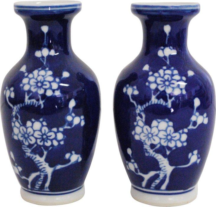Petite Blue & White Bud Vases, Pair