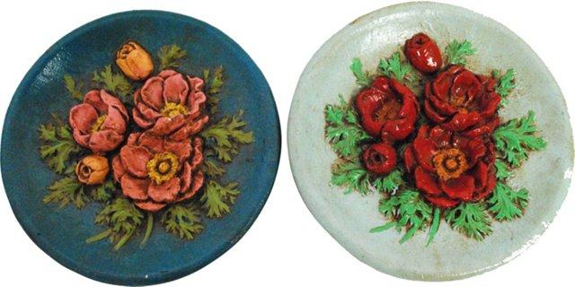 Floral Plates, Pair
