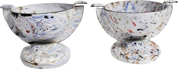 Enamel Cups, Pair