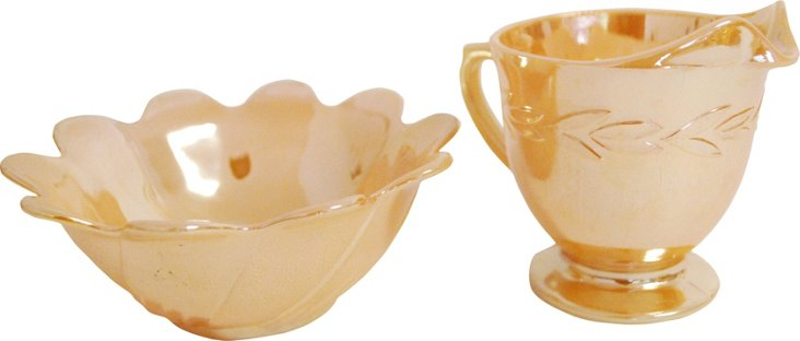Orange Lusterware Creamer & Sugar Bowl