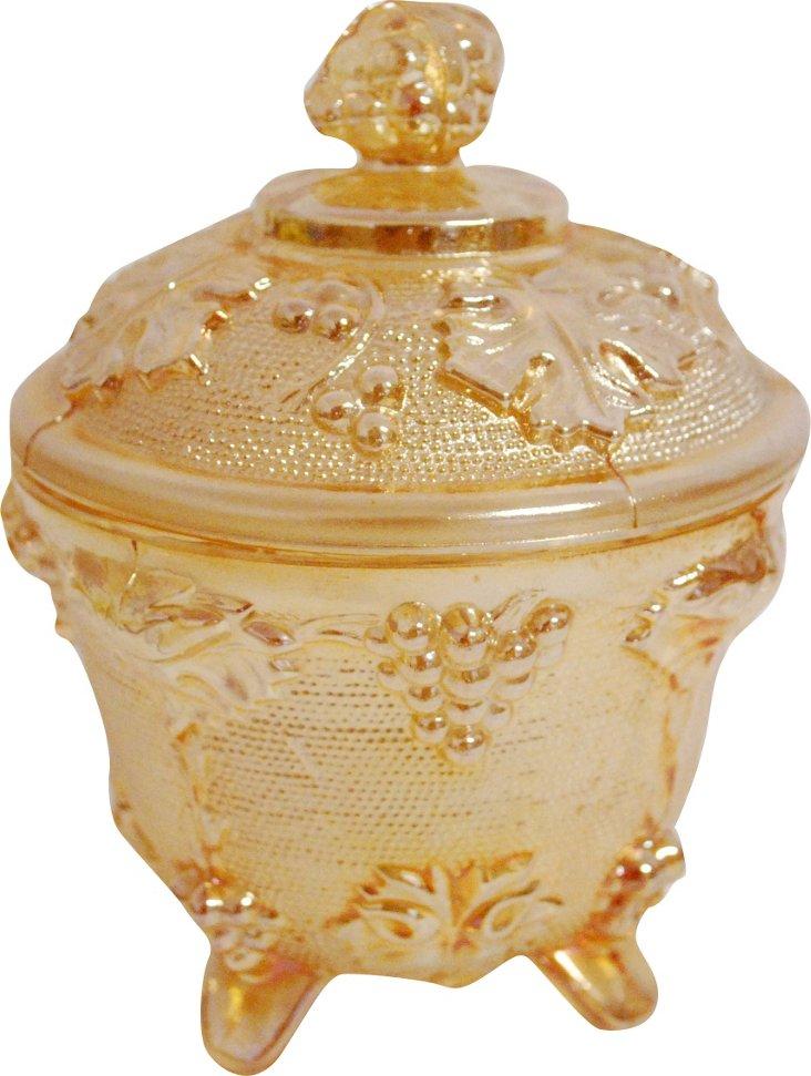 Orange Carnival Glass Jar