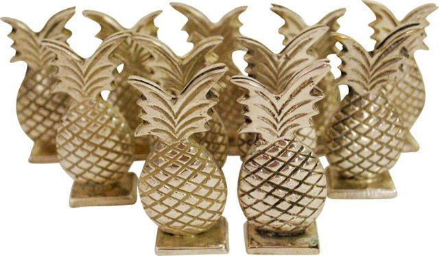 Pineapple Name-Card Holders, Set of 11