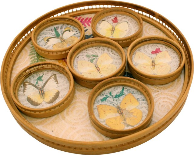 Bamboo Butterfly Tray & Coasters