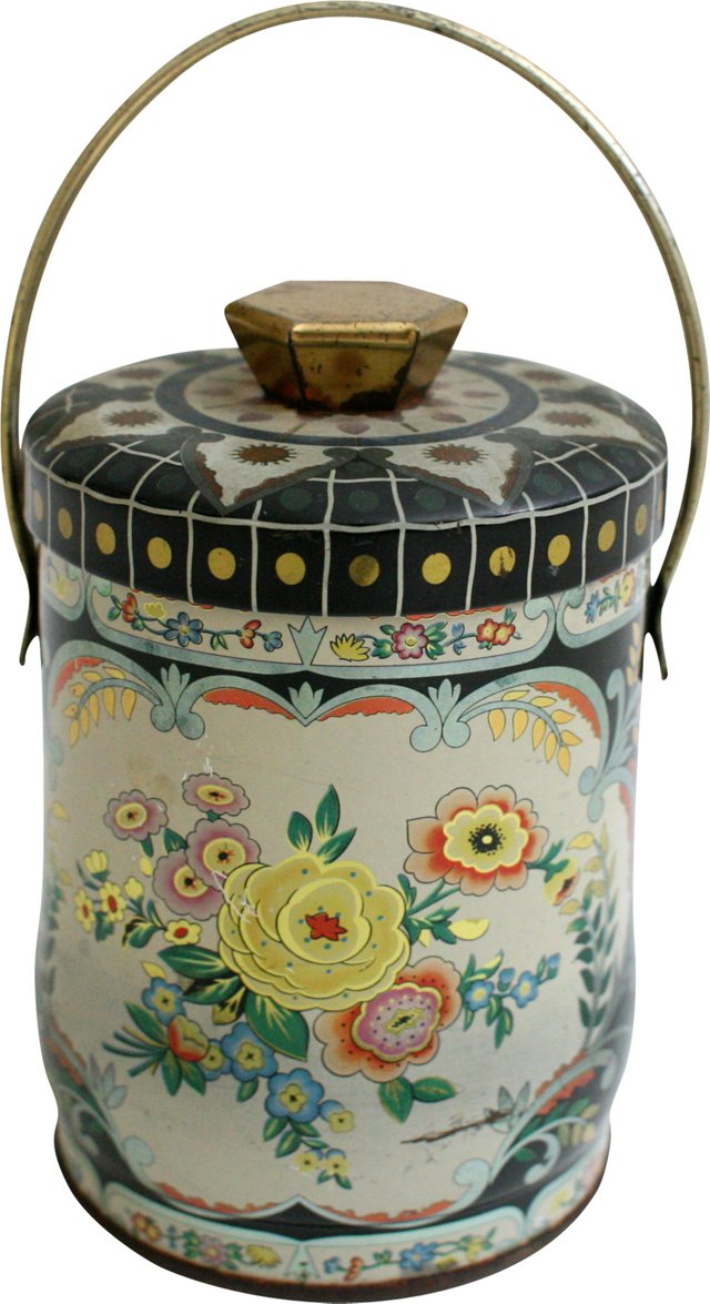 English Floral Tin w/ Handle