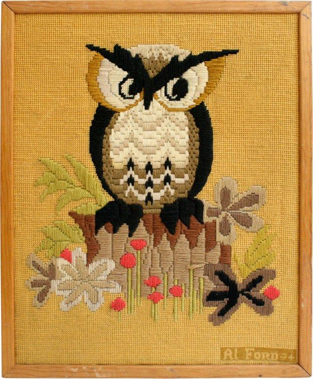 Framed Owl Needlepoint