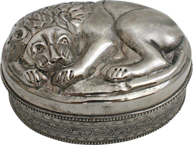 Silverplate Lion Box